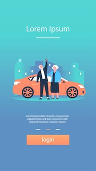 車で旅行する年配のカップル