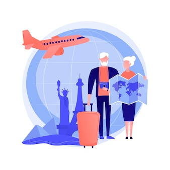 Senior couple travelling, visiting foreign countries. elderly people going on trip to paris. retirement vacation, rectreation, tourism. vector isolated concept metaphor illustration