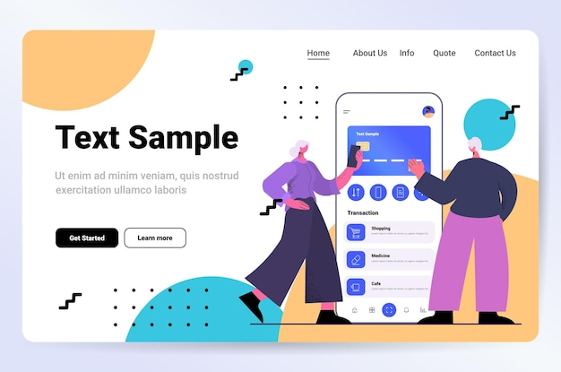 Senior couple using mobile banking app with credit card on smartphone screen e-payments online shopping concept horizontal full length vector illustration
