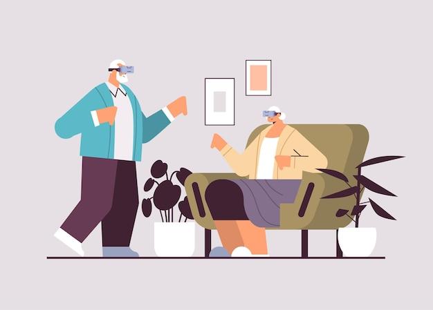 バーチャルリアリティインタラクティブサービスを探索するデジタルメガネでvrヘッドセットの祖父母を身に着けている年配のカップルアクティブな老後の概念水平全長ベクトル図