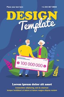 宝くじに当選した年配のカップル。銀行小切手フラットポスターを保持している老人と女性