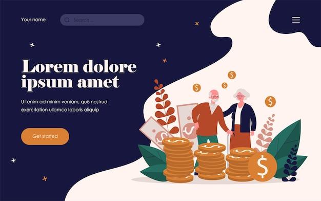 그들의 저축과 수석 부부입니다. 현금 평면 벡터 일러스트 레이 션의 더미에 서 있는 노인과 여자. 배너, 웹 사이트 디자인 또는 방문 웹 페이지에 대한 돈, 은퇴, 금융 개념