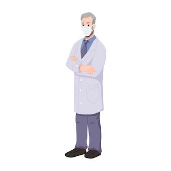 얼굴 마스크를 쓰고 접힌 손을 가진 수석 의사