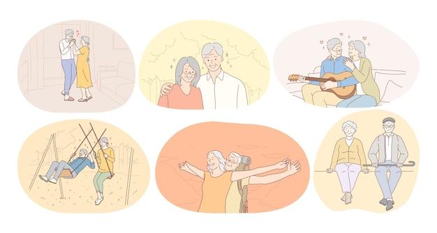 幸せなアクティブなライフスタイルの概念を生きる年配の老夫婦