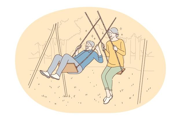행복 한 활동적인 라이프 스타일 개념을 살고 수석 노인 부부.