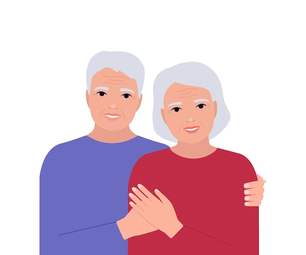 Senior elderly couple man and woman hug together grizzle and with wrinkles people family old age