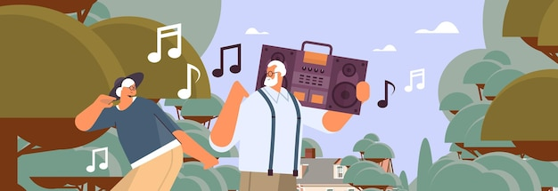 Senior family with bass clipping blaster recorder dancing and singing grandparents having fun active old age concept portrait horizontal vector illustration