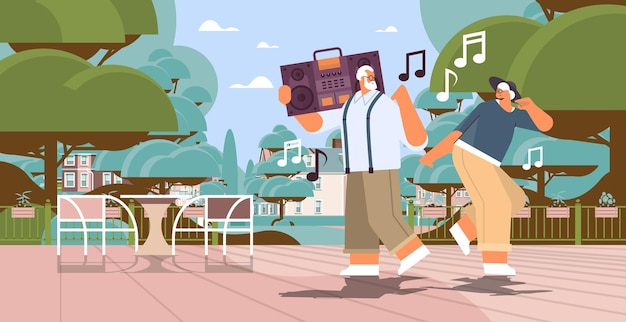 Senior family with bass clipping blaster recorder dancing and singing grandparents having fun active old age concept