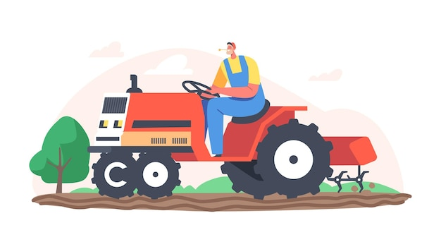 Старший фермер в фуражке и комбинезоне работает на тракторе, вспахивая землю на ферме. рабочий мужской персонаж сельскохозяйственный рабочий