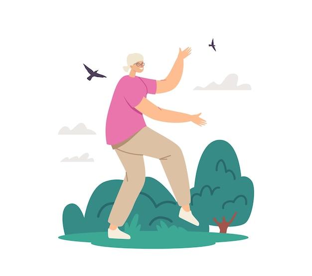시립 공원에서 운동하는 시니어 여성 캐릭터. 노인을 위한 야외 태극권 수업. 노인 여성의 건강한 생활 방식, 신체 유연성 훈련, 연금 수급자 운동. 만화 벡터 일러스트 레이 션