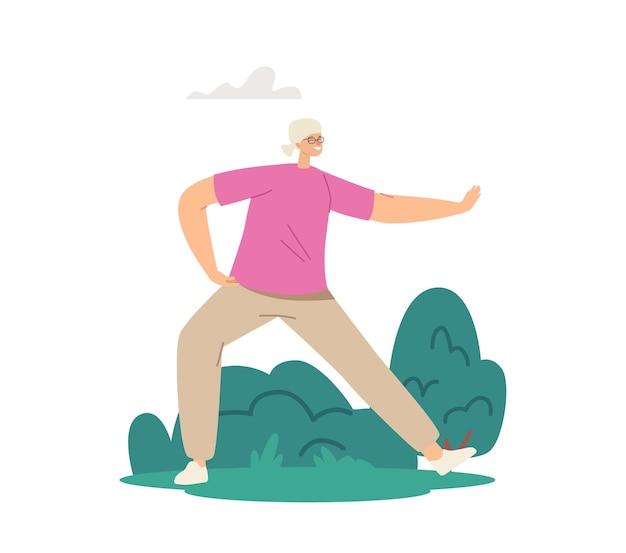 야외에서 태극권 운동을 하는 수석 여성 캐릭터. 노인 여성의 유연성과 웰빙 건강한 라이프 스타일. 도시 공원에서 연금 수령자 아침 운동. 만화 벡터 일러스트 레이 션