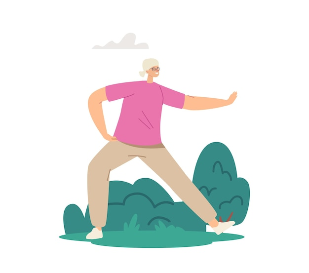 Senior female character exercising outdoors making tai chi exercises. elderly lady flexibility and wellness healthy lifestyle. pensioner morning workout at city park. cartoon vector illustration