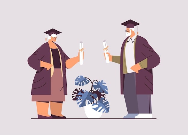 Senior graduated students aged man woman graduates celebrating academic diploma degree education university certificate concept horizontal full length vector illustration