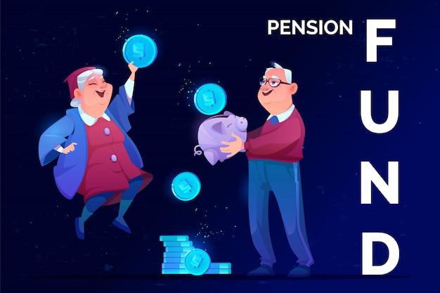 Старшие бабушки и дедушки получают пенсию в будущем безопасности