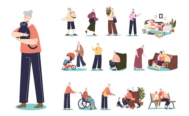 シニア白髪漫画女性キャラクターライフスタイルセット:おばあちゃんの成熟した女性が歩いたり、趣味をしたり、家で、または孫と一緒に歩いたりします。フラットベクトル図