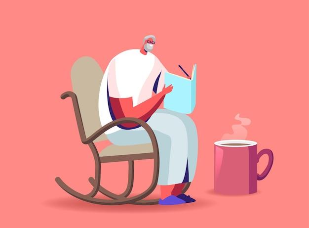 お茶を飲みながらローリングチェアに座っているメガネのシニア白髪の男