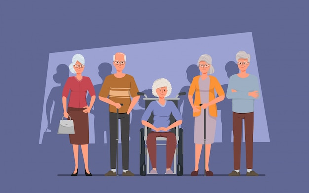 Senior group friend character elderly people.