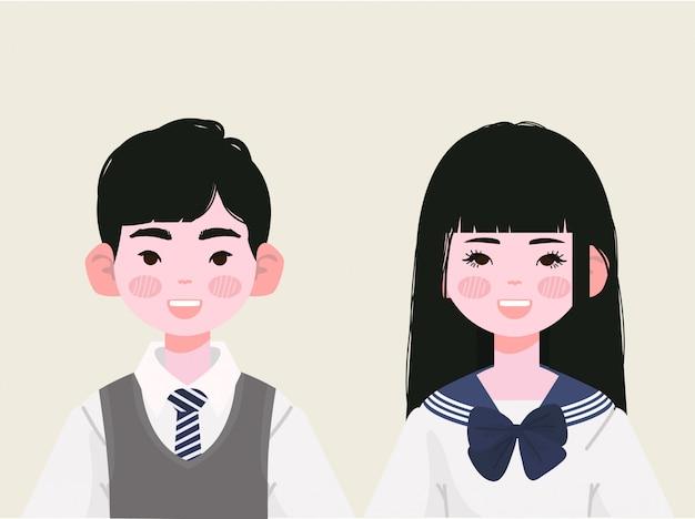 日本の制服を着た高校生。