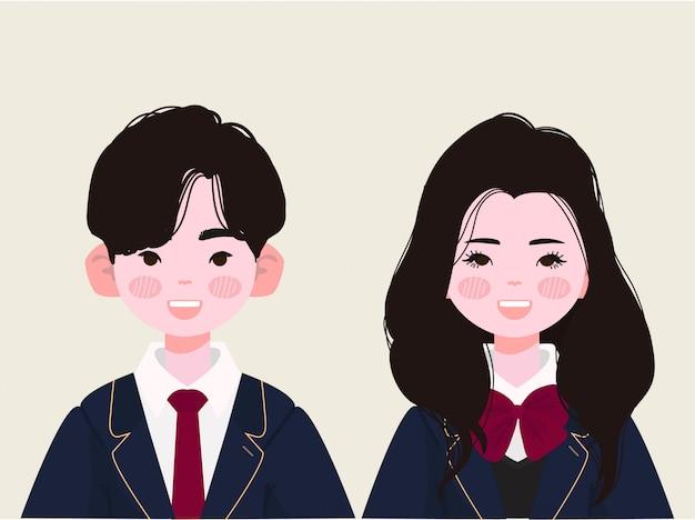 韓国の制服を着た高校生。