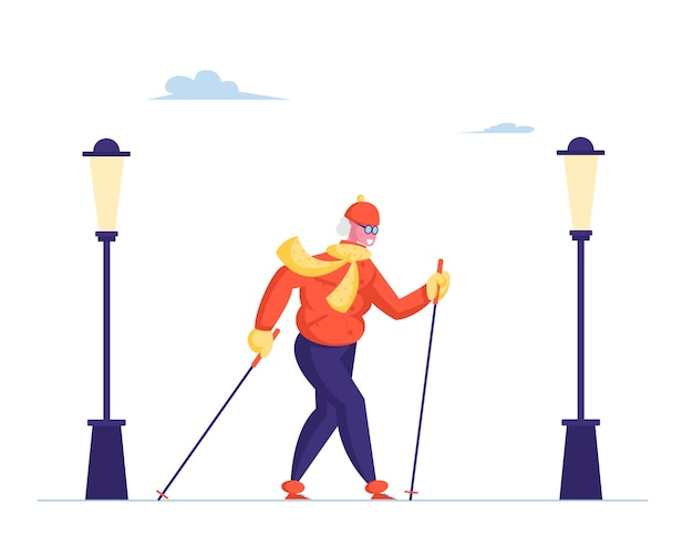 Старшая дама идет со скандинавскими палками на белом фоне с городскими фонарями