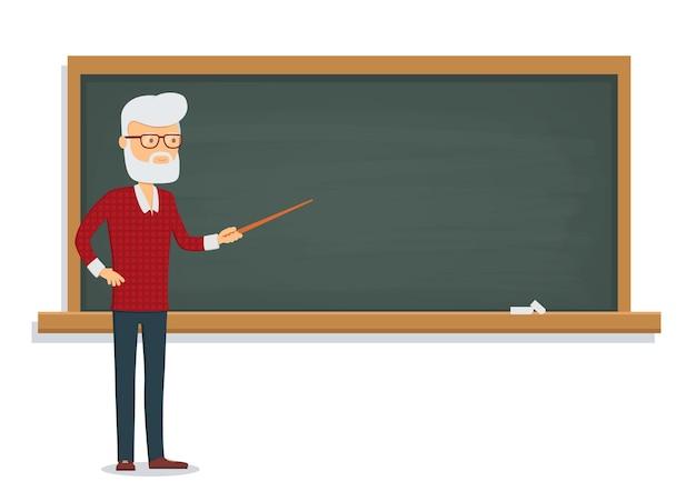 Senior male teacher teaches a lesson on the chalkboard.