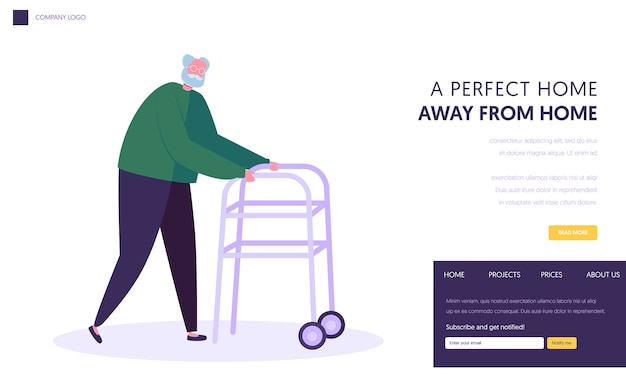 Senior man, aged grandfather moving with help of front-wheeled walker. landing page template
