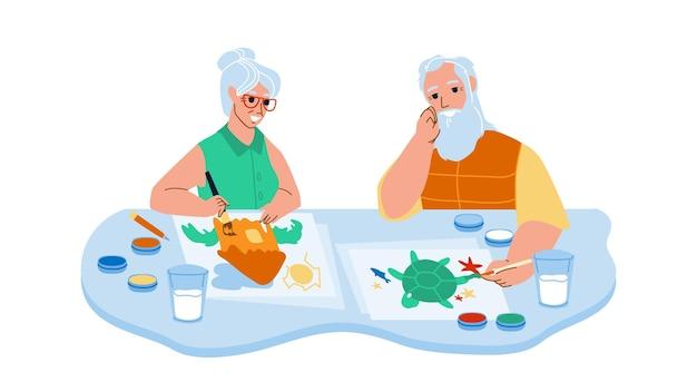 Старший мужчина и женщина, живопись в векторе художественного класса. пожилые дедушка и бабушка пара рисования изображения в художественной студии вместе. персонажи творчества профессии плоский мультфильм иллюстрации