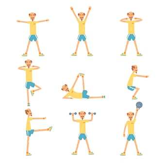 Senior man character exercising set, healthy active lifestyle retiree, elder fitness  illustrations