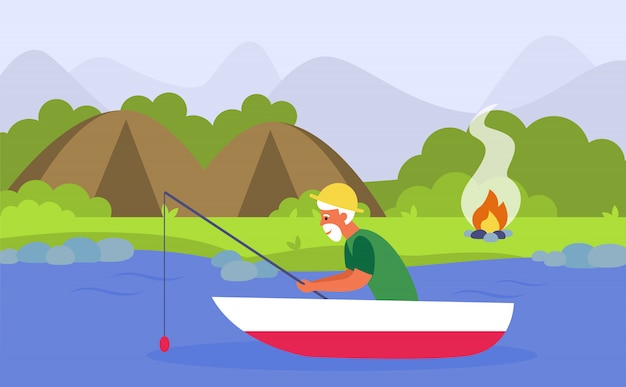 Старший мужчина, рыбалка на реке во время кемпинга