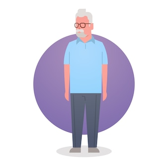 Senior man grandfather gray hair male icon full length