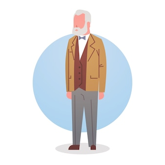 年配の男性人の祖父の白髪男性のアイコンの全長