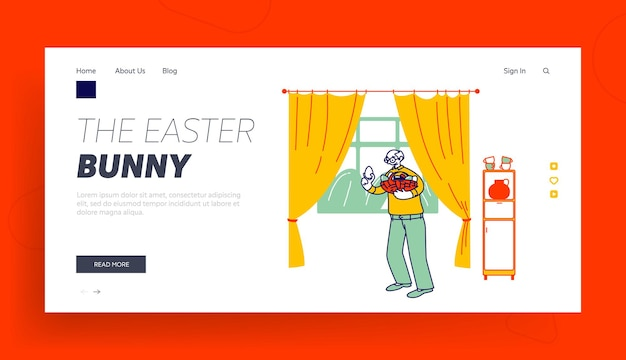 Senior man hold basket with decorated eggs for easter landing page template.