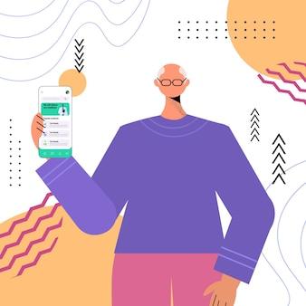 スマートフォンの画面で医師と話し合う年配の男性患者オンライン医療相談医療