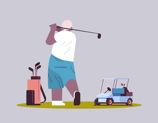 Senior man playing golf aged african american player taking a shot active old age concept horizontal full length vector illustration