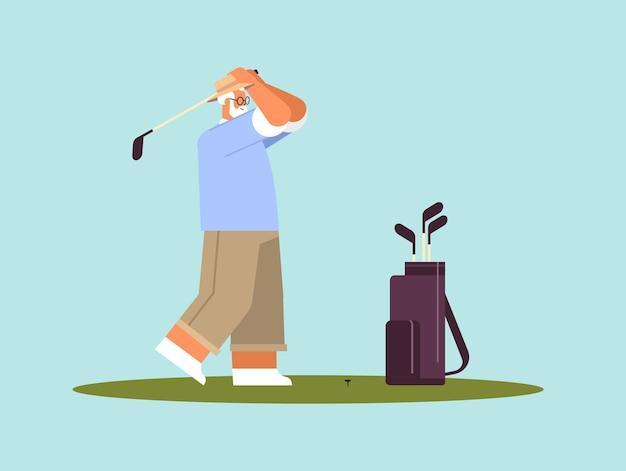 총 활성 노년 개념 수평 전체 길이 벡터 일러스트 레이 션을 복용 골프 세 선수를 재생 수석 남자