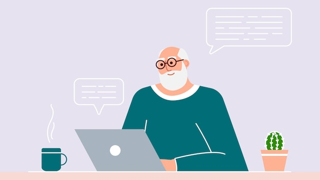老人はラップトップを使用して現代の技術を研究し、教えています。ポジティブな笑顔の祖父はコンピューターの前に座り、インターネットでコミュニケーションを取り、新しいことを学びます。大人が働いています。ベクター。