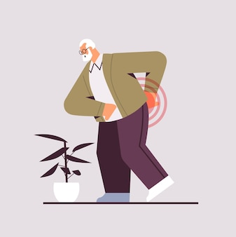 Senior man suffering from back pain old age problems concept painful inflamed area highlighted in red color full length vector illustration