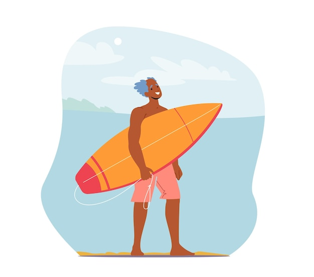 Отдых старшего мужчины, занимающийся серфингом, персонаж в шортах на берегу океана с доской для серфинга