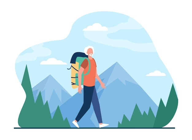 Senior man trekking in mountains. grey haired male tourist with backpack flat illustration.