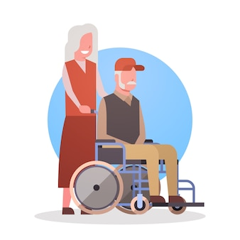 Senior man on wheel chair and woman couple grandmother and grandfathr gray hair icon
