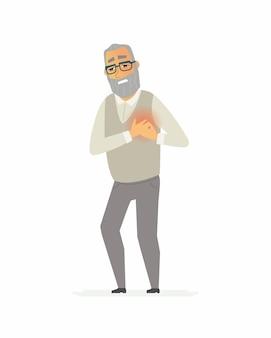 Старший мужчина с душевной болью - персонажи мультфильмов люди изолировали иллюстрацию на белом фоне. у пожилого человека сердечный приступ. концепция медицины и здравоохранения