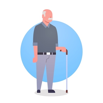 Senior man with stick grandfather gray hair male icon full length