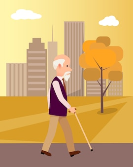 Senior man with walking stick in city park illustration