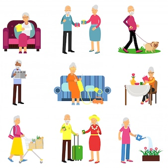 Senior man and woman activities set, elderly people lifestyle colorful   illustrations