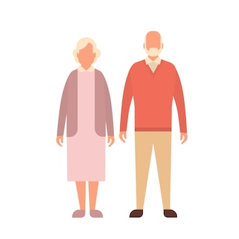 Senior man woman, couple grandfather grandmother full length