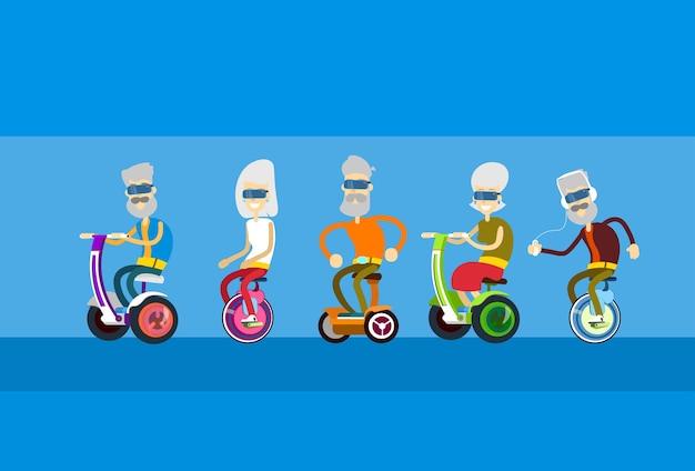Senior man woman group ride segway motor scooter