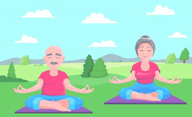 Senior man and woman meditates sitting on carpet.vector illustration.