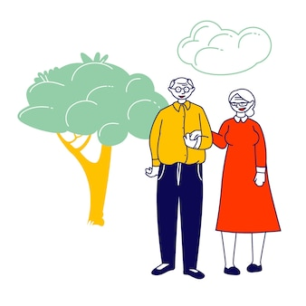 Senior married couple holding hands stand together on nature landscape. cartoon flat illustration
