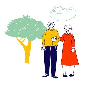 手をつないでいる年配の夫婦は、自然の風景に一緒に立っています。漫画フラットイラスト