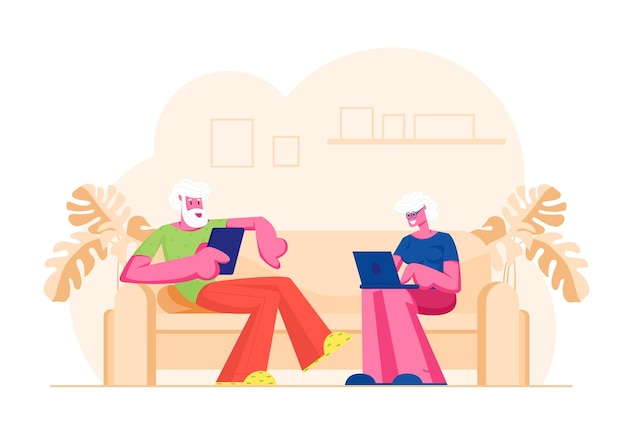 Senior married couple sitting on couch using digital devices. cartoon flat  illustration